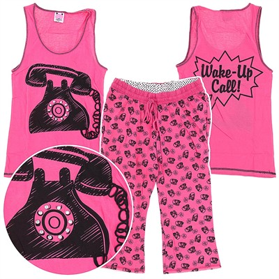 Pink Wake Up Cotton Capri Pajama Set for Women