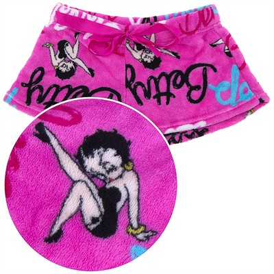 Betty Boop Pink Plush Pajama Shorts for Juniors