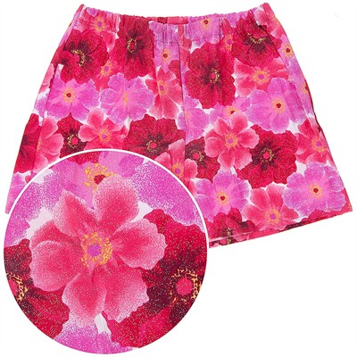 Red Floral Pajama Shorts for Women