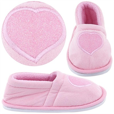 Pale Pink Glitter Heart Slippers for Toddler Girls