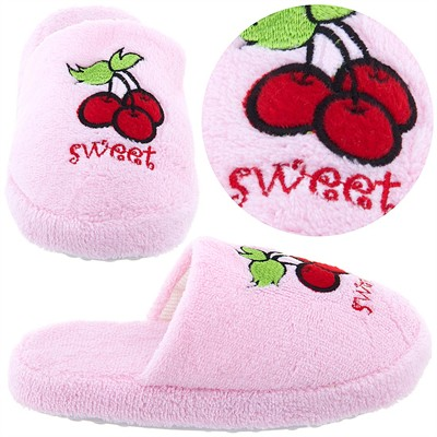 Pale Pink Sweet Cherry Slippers for Girls