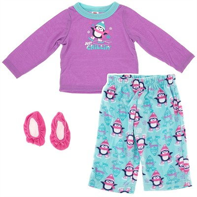 Purple Penguin Pajamas for Infant and Toddler Girls