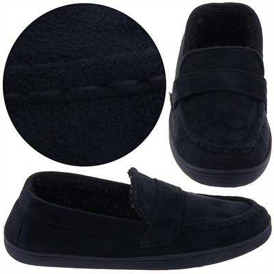Perry Ellis Black Moccasin Slippers for Men