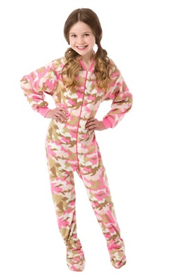 Pink Camouflage Fleece Footed Pajamas for Girls