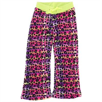 Pink Leopard Fleece Pajama Bottoms for Girls