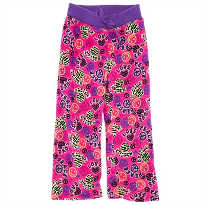 Pink Peace Fleece Pajama Bottoms for Girls