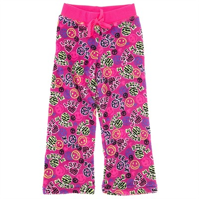 Pink Peace, Love, Smile Fleece Pajama Bottoms for Girls
