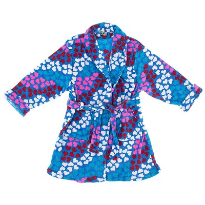 Pink, Blue, and Red Heart Plush Bath Robe for Juniors