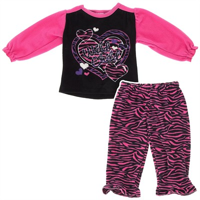 Pink Wild Child Fleece Pajamas for Infant and Toddler Girls
