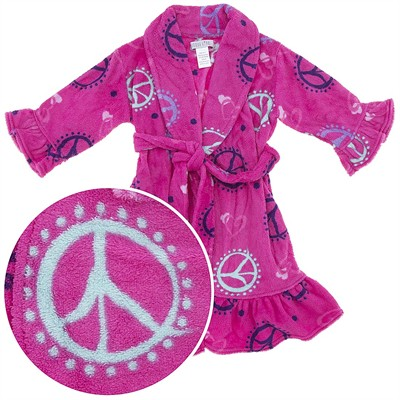 Pink Peace Sign Plush Robe for Girls