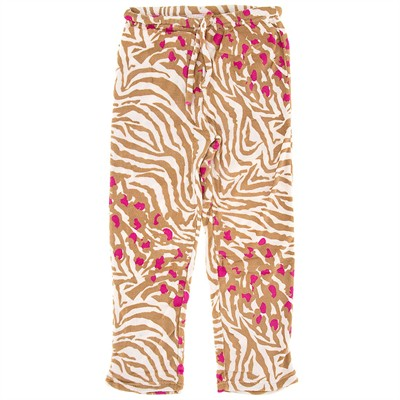 Brown Zebra Print Plus Size Pajama Pants for Women