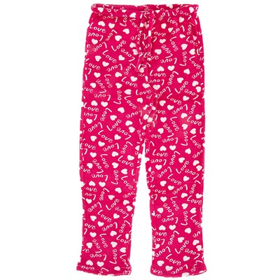 Pink Love Fleece Pajama Pants for Women