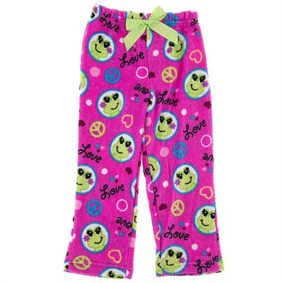 Pink Plush Frog Pajama Pants for Girls