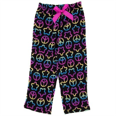 Black Plush Peace Pajama Pants for Girls
