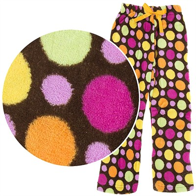 Brown Polka Dot Plush Pajama Pants for Girls
