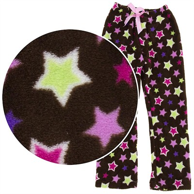 Brown Star Plush Pajama Pants for Girls