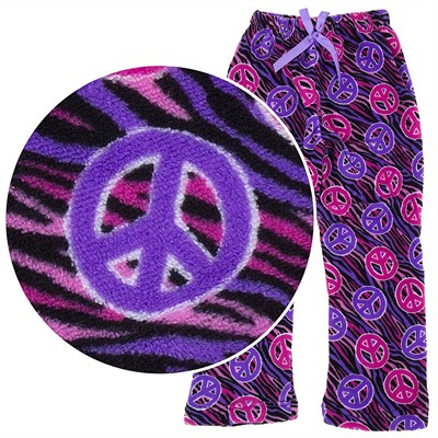 Fuschia Peace Sign Plush Pajama Pants for Girls