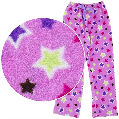Lilac Star Plush Pajama Pants for Girls