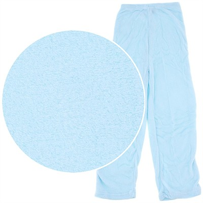 Light Blue Plush Pajama Pants for Women