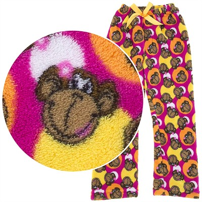 Pink Monkey Plush Pajama Pants for Girls
