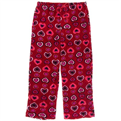 Red Heart Plush Pajama Pants for Women