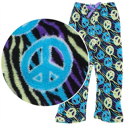 Turquoise Peace Sign Plush Pajama Pants for Girls