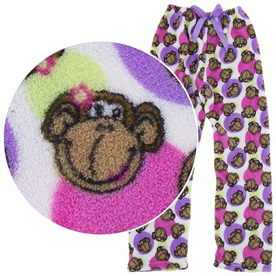White Monkey Plush Pajama Pants for Girls