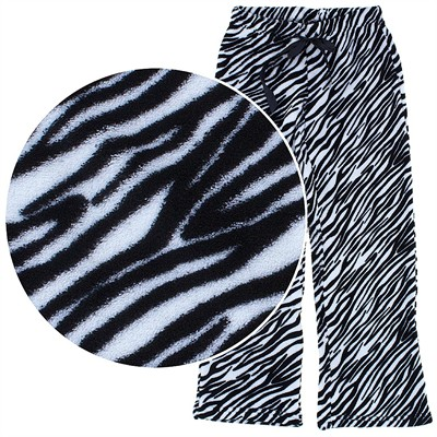 Zebra Plush Pajama Pants for Women