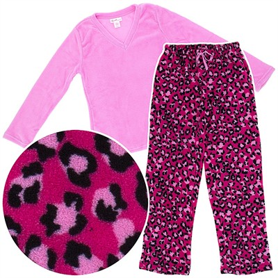Pink Leopard Plush Pajamas for Women