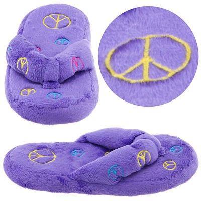 Purple Peace Sign Thong Style Slippers for Girls