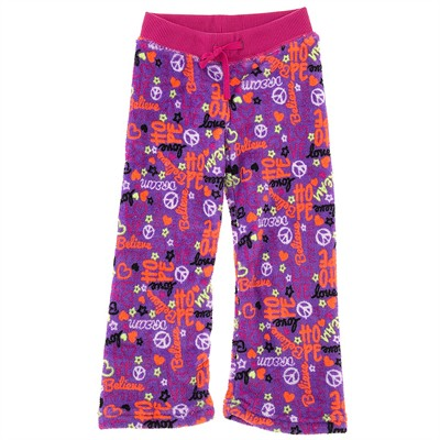 Purple Peace Fleece Pajama Bottoms for Girls