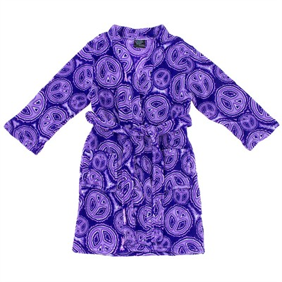 Purple Peace Sign Fleece Bathrobe for Juniors