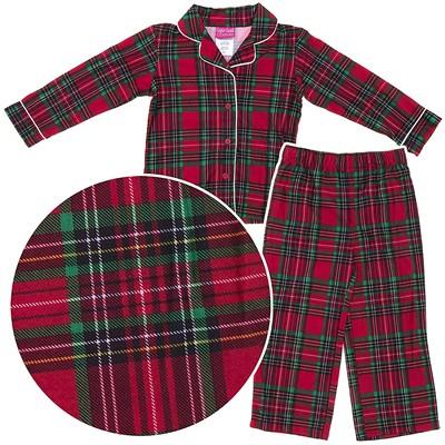 Red Plaid Coat-Style Pajamas for Girls