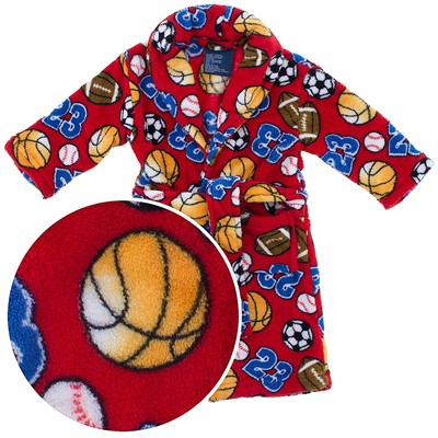 Red All Star Plush Bath Robe for Toddler Boys