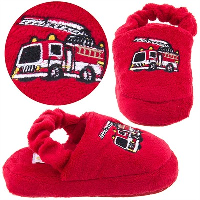 Red Fire Engine Toddler Slippers for Boys