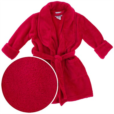 Red Plush Bath Robe for Toddlers and Girls