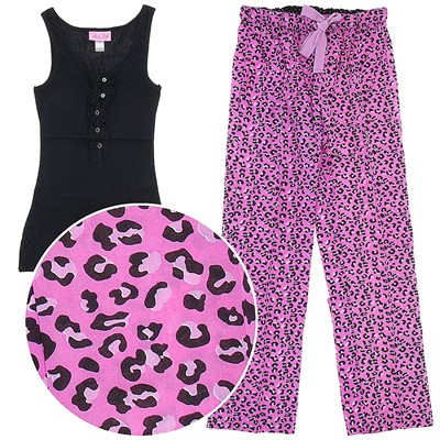 Rene Rofe Pink Leopard Cotton Pajamas for Women