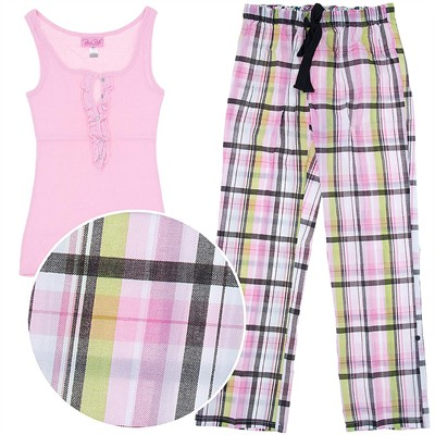 Rene Rofe Pink Plaid Cotton Pajamas for Women