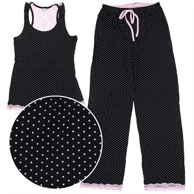 Rene Rofe Pink and Black Polka Dot Pajamas for Women