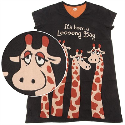 Lazy One It's Been a Looong Day Giraffe Nightshirt for Women