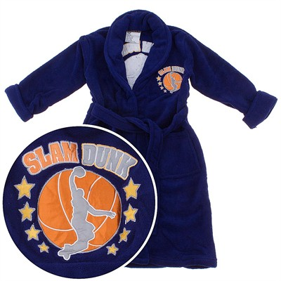 Navy Slam Dunk Basketball Plush Bath Robe for Boys