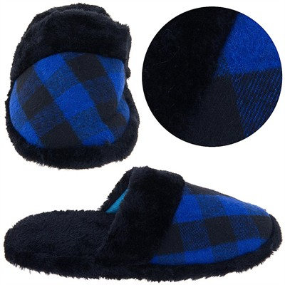 Royal Blue and Black Plaid Slippers for Women