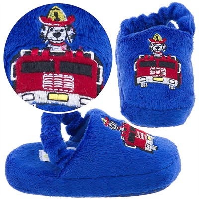Royal Blue Fire Truck Toddler Slippers for Boys