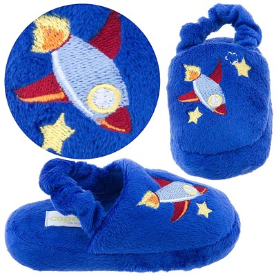 Royal Blue Rocket Toddler Slippers for Boys
