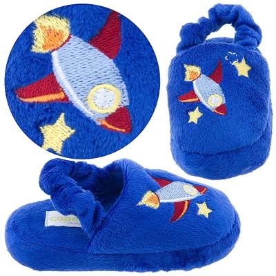 Royal Blue Rocket Toddler Slippers for Boys
