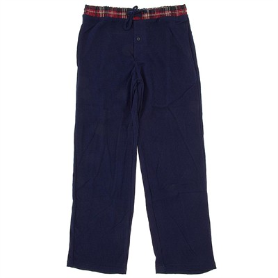 Navy with Red Plaid Thermal Lounge Pants for Men