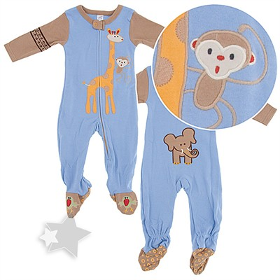 Savannah Animal Cotton Footed Sleeper Pajamas for Baby Boys