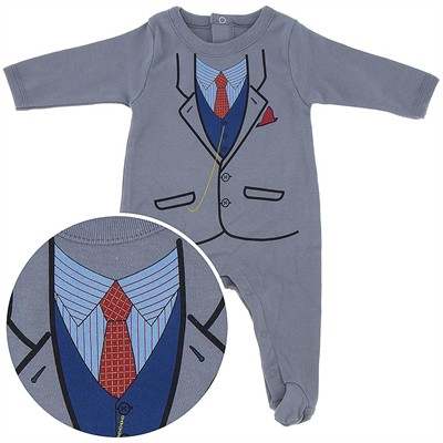 Business Suit Cotton Footie for Baby Boys