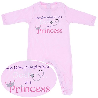 Doctor or a Princess Cotton Footie for Baby Girls