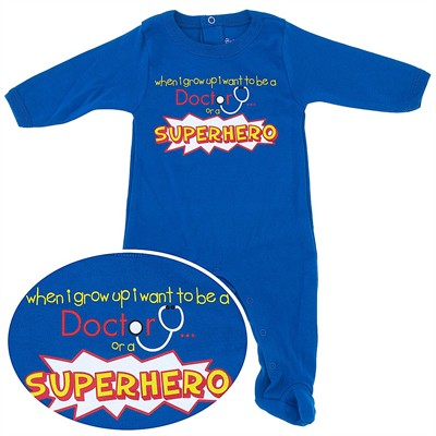 Doctor or a Superhero Cotton Footie for Baby Boys